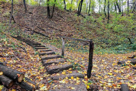 Stone old staircase in the autumn forest.