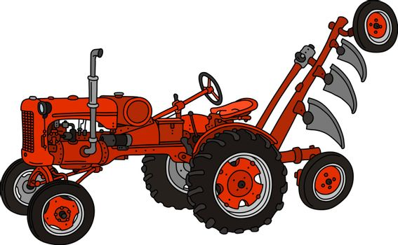 The classic red tractor with a plough