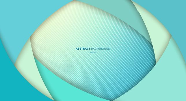 Abstract blue curve layer overlapping background. Paper art style. Vector illustration
