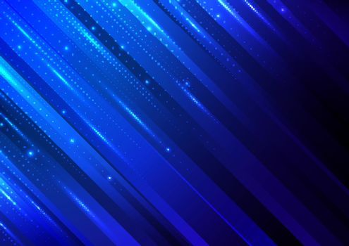 Abstract technology digital futuristic different neon glowing dots particles with lighting on blue stripes background. Big data. Vector illustration