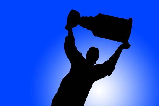 An illustrated hockey player hoisting the trophy after winning the tournament.