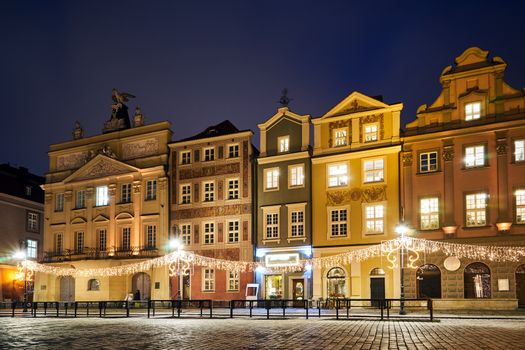 The Market Square with historic tenement houses andl and christmas decorations