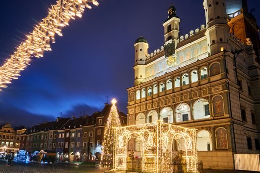 the facade of Renaissance town hall and christmas decorations