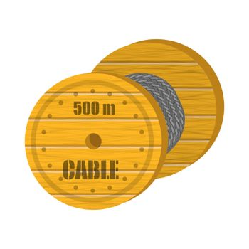 Coaxial Digital Cable with Wooden Coil Isolated on White Background