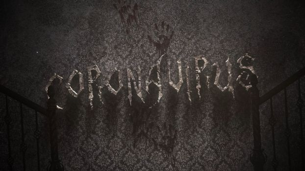 Closeup text Coronavirus and mystical horror background with dark hall of room. Abstract backdrop, luxury and elegant 3d illustration of horror theme