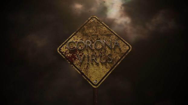 Closeup text Coronavirus and mystical horror background with road sign and dark blood, abstract backdrop. Luxury and elegant 3d illustration of horror theme