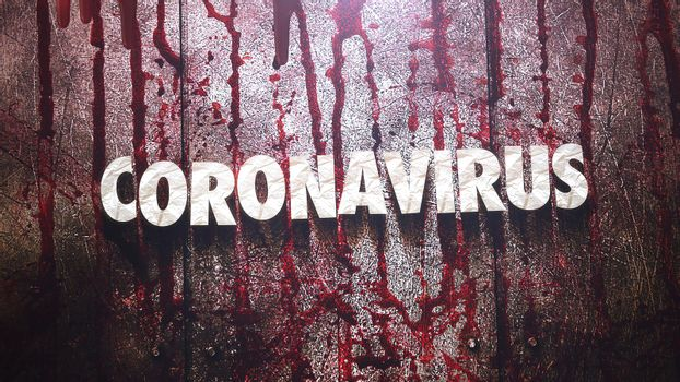 Closeup text Coronavirus and mystical horror background with dark blood, abstract backdrop. Luxury and elegant 3d illustration of horror theme