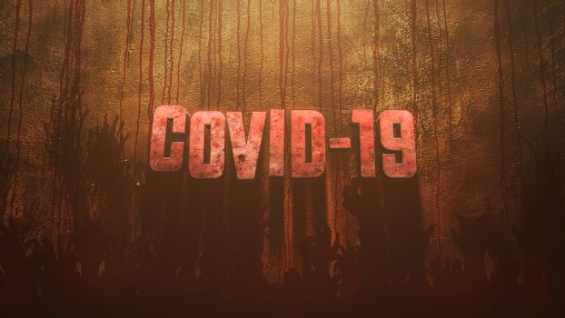 Closeup text Covid-19 and mystical horror background with dark blood and help hands, abstract backdrop. Luxury and elegant 3d illustration of horror theme