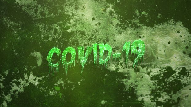 Closeup text Covid-19 and mystical horror background with dark blood and motion camera, abstract backdrop. Luxury and elegant 3d illustration of horror theme