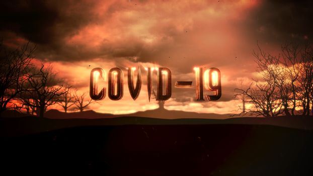 Closeup text Covid-19 and mystical animation halloween background with dark clouds and mountains, abstract backdrop. Luxury and elegant 3d illustration of horror theme