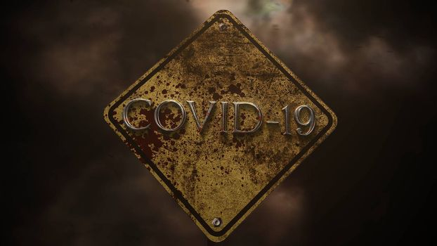 Closeup text Covid-19 and mystical horror background with road sign and dark blood, abstract backdrop. Luxury and elegant 3d illustration of horror theme