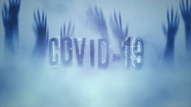 Closeup text Covid-19 and mystical horror background with hands behind the glass, abstract backdrop. Luxury and elegant 3d illustration of horror theme