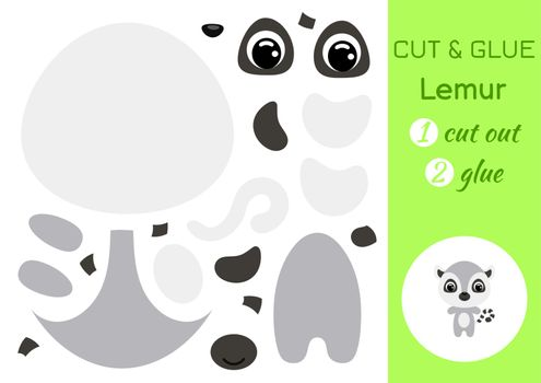 Cut and glue baby lemur. Education developing worksheet. Color paper game for preschool children. Cut parts of image and glue on paper. Cartoon character. Colorful vector stock illustration.