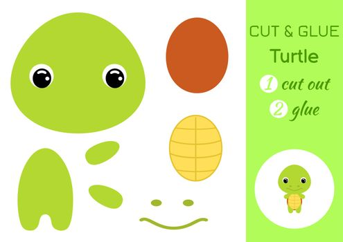 Cut and glue baby turtle. Education developing worksheet. Color paper game for preschool children. Cut parts of image and glue on paper. Cartoon character. Colorful vector stock illustration.