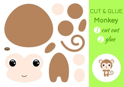Cut and glue baby monkey. Education developing worksheet. Color paper game for preschool children. Cut parts of image and glue on paper. Cartoon character. Colorful vector stock illustration.