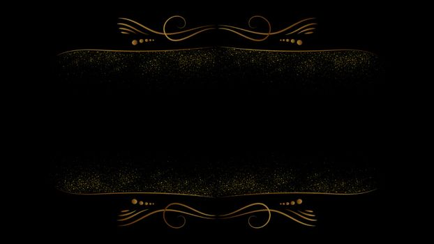 Black and Gold background abstract geometric mandala shapes luxury design wallpaper.Realistic layer metallic elegant futuristic glossy light.Cover layout template.