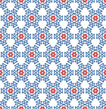 background or textile blue and red hexagonal star winter pattern
