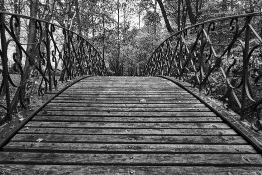 Wooden pedestrian bridge in a park