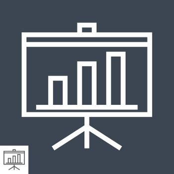 Presentation Billboard Thin Line Vector Icon. Flat icon isolated on the black background. Editable EPS file. Vector illustration.