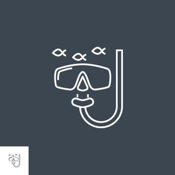 Snorkeling Icon. Snorkeling Related Vector Line Icon. Isolated on Black Background. Editable Stroke.