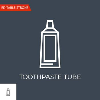 Toothpaste Tube Thin Line Vector Icon. Flat Icon Isolated on the Black Background. Editable Stroke EPS file. Vector illustration.