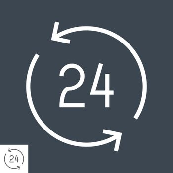Open 24 Hours a Day Thin Line Vector Icon. Flat icon isolated on the black background. Editable EPS file. Vector illustration.