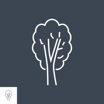 Tree related vector thin line icon. Isolated on black background. Editable stroke. Vector illustration.