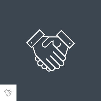 Handshake Related Vector Thin Line Icon. Isolated on Black Background. Editable Stroke. Vector Illustration.