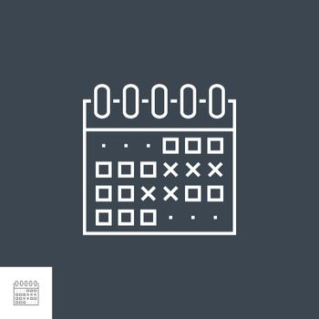Events Calendar Related Vector Thin Line Icon. Isolated on Black Background. Editable Stroke. Vector Illustration.