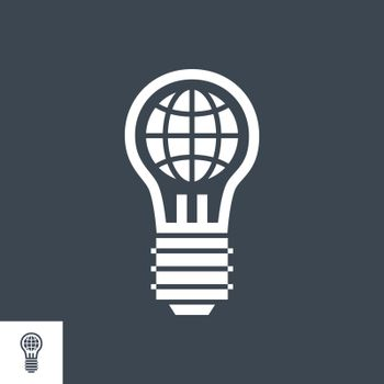 Global Solution Related Vector Glyph Icon. Isolated on Black Background. Vector Illustration.