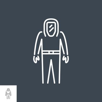 Biological Protection Suit related vector thin line icon. Isolated on black background. Editable stroke. Vector illustration.