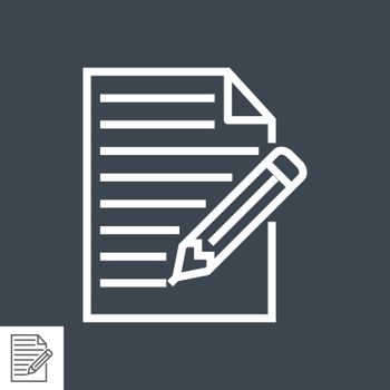 Pictogram of Note Thin Line Vector Icon. Flat icon isolated on the black background. Editable EPS file. Vector illustration.