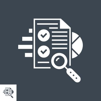 SEO Audit Related Vector Glyph Icon. Isolated on Black Background. Vector Illustration.