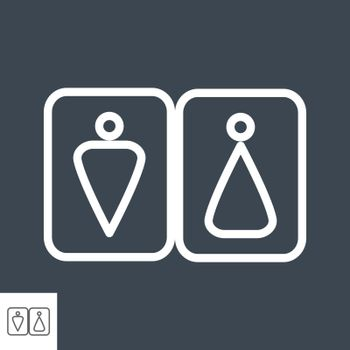WC Thin Line Vector Icon Isolated on the Black Background.