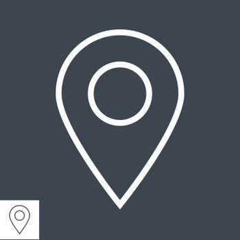 Map Pin Thin Line Vector Icon Isolated on the Black Background.