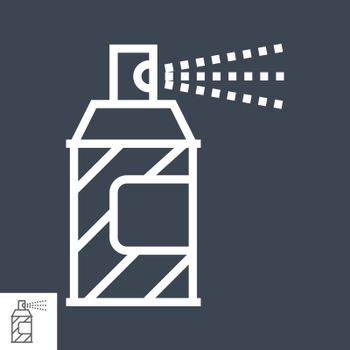 Spray Paint Thin Line Vector Icon Isolated on the Black Background.