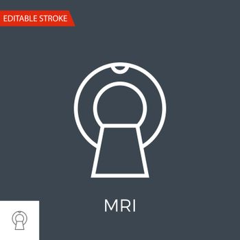 MRI Thin Line Vector Icon. Flat Icon Isolated on the Black Background. Editable Stroke EPS file. Vector illustration.