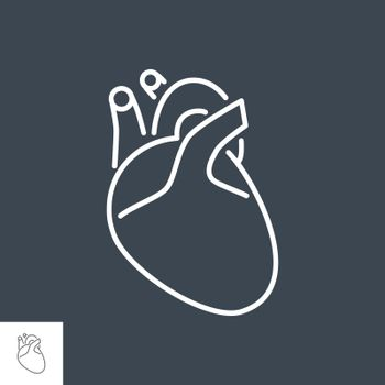 Heart Related Vector Line Icon. Drugs. Isolated on Black Background. Editable Stroke.