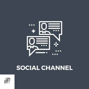 Social Chanels Related Vector Thin Line Icon. Isolated on Black Background. Editable Stroke. Vector Illustration.
