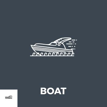 Boat Icon Vector. Flat icon isolated on the black background. Editable EPS file. Vector illustration.