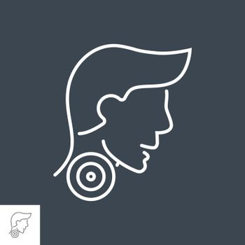 Sore Throat related vector thin line icon. Head of a man with a sore throat. Isolated on black background. Editable stroke. Vector illustration.