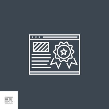 Page Quality Related Vector Thin Line Icon. Isolated on Black Background. Editable Stroke. Vector Illustration.