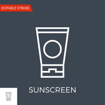 Sunscreen Thin Line Vector Icon. Flat Icon Isolated on the Black Background. Editable Stroke EPS file. Vector illustration.