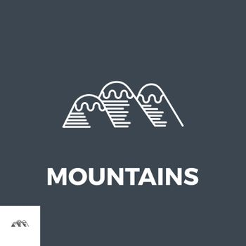 Mountains Icon Vector. Icon isolated on the black background. Editable EPS file. Vector illustration.