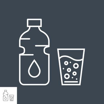 Water related vector thin line icon. Bottle of water and a full glass. Isolated on black background. Editable stroke. Vector illustration.