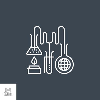 Research Related Vector Thin Line Icon. Isolated on Black Background. Editable Stroke. Vector Illustration.