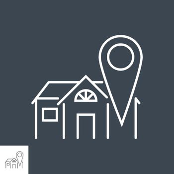 Stay Home related vector thin line icon. House with a navigation position sign . Isolated on black background. Editable stroke. Vector illustration.