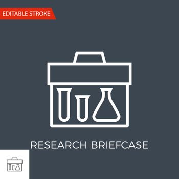 Research Briefcase Thin Line Vector Icon. Flat Icon Isolated on the Black Background. Editable Stroke EPS file. Vector illustration.