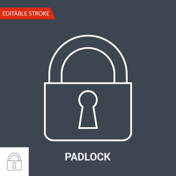 Padlock Icon. Thin Line Vector Illustration. Adjust stroke weight - Expand to any Size - Easy Change Colour - Editable Stroke