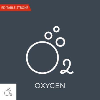 Oxygen Thin Line Vector Icon. Flat Icon Isolated on the Black Background. Editable Stroke EPS file. Vector illustration.